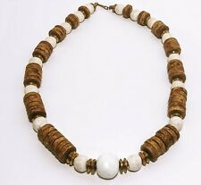 """Vintage Tibetan Graduated Disc Bead Necklace Bone and Coral With Brass 22"""" 131gr"""