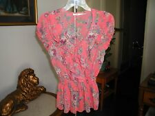 Poetry Womens Rose Pink & Gray Floral Print Ruffled Top W/ Tie Size Small NWOT