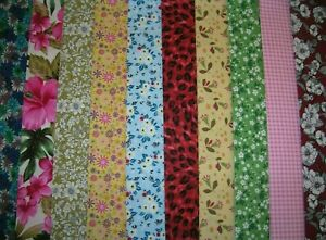 """10 JELLY ROLL STRIPS MULTI COLOUR  44"""" X 2.5""""  100% COTTON PATCHWORK/QUILT MAR"""