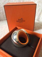 Hermes Ring 51 Quark Heavy Silver Orange W Box Rare Auth Cocktail Jewelry Paris