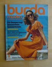 Burda Mode 06/74 Modezeitschrift HOCHZEIT Braut Glockenrock Bikinis häkeln 70er