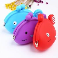 1 Piece Silicone Fish Pattern Coin Purse Kids Gift Wallet Earphone Container