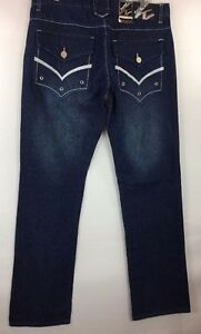 Knockout Men's Jeans Blue with White Stitching on Back Pocket Cotton Size 36x34