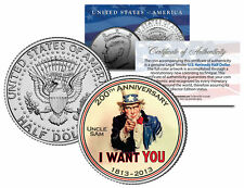 """Uncle Sam """"I Want You"""" 200th Anniversary JFK Half Dollar US Colorized Coin"""