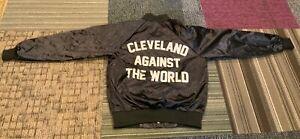 Men's Vintage Small Cleveland Against The World Black Jacket Satin Ilthy