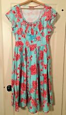 Pinup Girl Clothing Couture - EVELYN - Blue and Pink Roses - Dress Only Size 2X