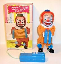 MINT 1960's BATTERY OPERATED HAPPY N SAD MAGIC FACE ACCORDION CLOWN TOY MIB