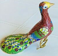 **PEACOCK** CHINESE BIRD CLOISONNE BRASS ENAMEL FIGURINE -- RED -- SEE PHOTOS!**