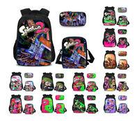 3PCS/Set Backpack Splatoon 2 School Bags Lunch Handbag Mini Pen Bag For Kids