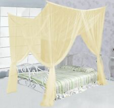 Beige Khaki Four 4 Post Bed Canopy Netting Curtains Sheer Panel Corner Any Size