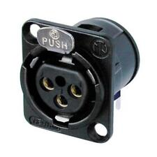 Neutrik NC3FD-H-B Receptacle D Series 3 pin Female XLR- PCBH - Black/Gold 1141