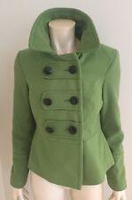 Ladies Red Herring Green Wool  Coat Button Detail Size 10