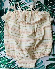 Dylan & Abby Girls Pink Gold Striped Ruffle Snap Bottom 6-9 Months One Piece