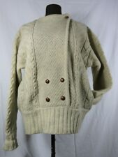 Beige Wool Cable Pullover Sweater Open Front Asymmetrical Buttons Pockets PQS L