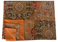 Orange Indian Embroidered Floral Kantha Quilt Bedspread Throw Gudri Twin Blanket