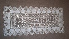 HEART Pattern WHITE CLUNY LACE Style RUNNER 14 in x 44 in Rectangle