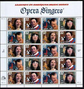 USA Scott# 3154 3155 3156 3157 OPERA SINGERS Pane of 20 Stamps - MNH