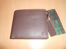 portefeuille porte-cartes BENETTON cuir marron - neuf
