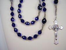 """Rosary Mens Catholic Police Cobalt Blue Czech Glass 24"""" Masculino PoliciaRosario"""