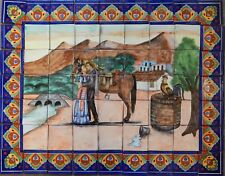 Mexican Talavera Mosaic Mural Tile Handmade Couple  Backsplash # 46