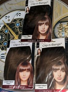 3 Mia Clip-n-Bangs Instant Bangs! Synthetic Hair Medium Brown Color