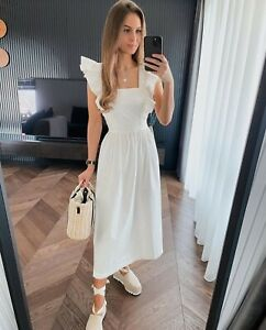 H&M SS21 Conscious Wildflower Poplin Bow Back Dress Cream Size M 12/14 BLOGGERS