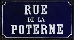 Old French enamel street sign road plaque rue de la Poterne postern castle gate