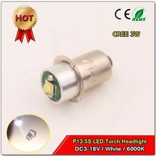 1x White 3W CREE P13.5S Led Torch Car Replacement bulb 3-18V Lantern Work Light