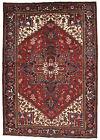 Vintage Persìan Heriz 6'x9' Red Wool Tribal Hand-Knotted Oriental Rug
