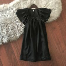 H&M Women's Dress Size 2 Black Tunic Lined, Squared Neck Cap Sleeves