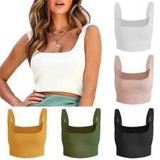 Women Ribbed Crop Top Sleeveless Vest Tank T-Shirt Ladies Casual Slim Tee Blouse
