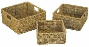 Set Of 3 Natural Nested Seagrass Wicker Square Desk Storage Baskets With Handles