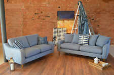 Henley / Halo Small Sofa Cotton Denim Blue Scatter Back RRP £999 New Warranty