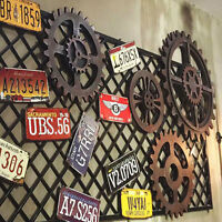 Simple Retro Industrial Antique Vintage Gear Wall Art Wooden Home Bar Cafe Decor