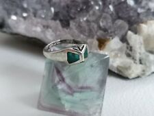 VINTAGE NAVAJO OLD PAWN TURQUOISE INLAY STERLING RING UK SIZE M/N