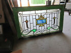 ~ANTIQUE STAINED GLASS TRANSOM WINDOW 1 OF 2 ~ 32.5 X 19.5 ~ SALVAGE