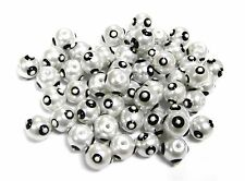 Polka Dot Glass Beads round Pearl White Black Hand Painted 5mm 50 pcs