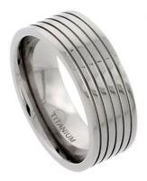 Men's Comfort Fit Titanium Size 11 Wedding Band 9mm Five Groove Design C16