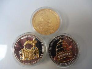 3 Belle Gedenk- Médailles__ Thème : Reichskronen __ Plaqué Or Et Versilber __
