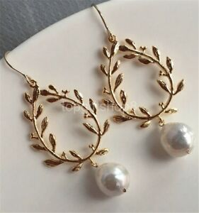 white 12-13mm cultured freshwater coin pearl earrings 14k filled gold