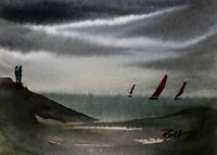 ACEO ATC original art painting ' Watching Boats ' by Bill Lupton