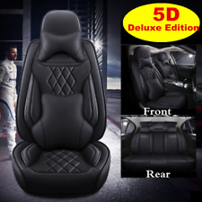 Black Car Seat Covers 5D Deluxe PU Leather Universal Seat Cushion Protector