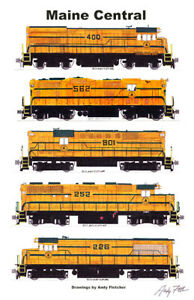 """Maine Central Harvest Gold Locomotives 11""""x17"""" Poster by Andy Fletcher signed"""