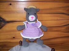 crochet 14 in tall gray cat toy animal doll in lavender dress w/hat