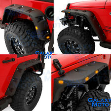 07-17 Jeep JK Wrangler Smooth Black Stubby Front+Rear Pocket Style Fender Flares