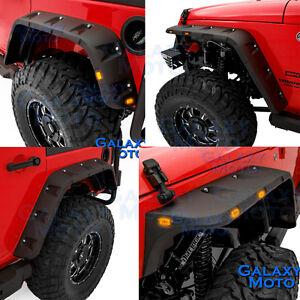 Black Stubby Front+Rear Pocket Style Fender Flares for 07-18 Jeep JK Wrangler