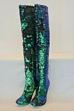 Pre-Owned Blue Green Sequins Flip Mermaid Thigh High Boots Sz US 8.5 EURO 42