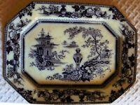 Flow Mulberry Jeddo Pattern English Ironstone Platter Adams 1840s