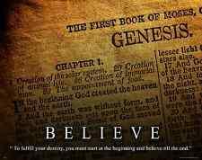 Religious Motivational Poster Art Print Inspirational Christian Believe RELG31