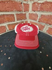 DR PEPPER DISTRESSED STITCHED UP MESH TRUCKER SNAPBACK BASEBALL CAP HAT